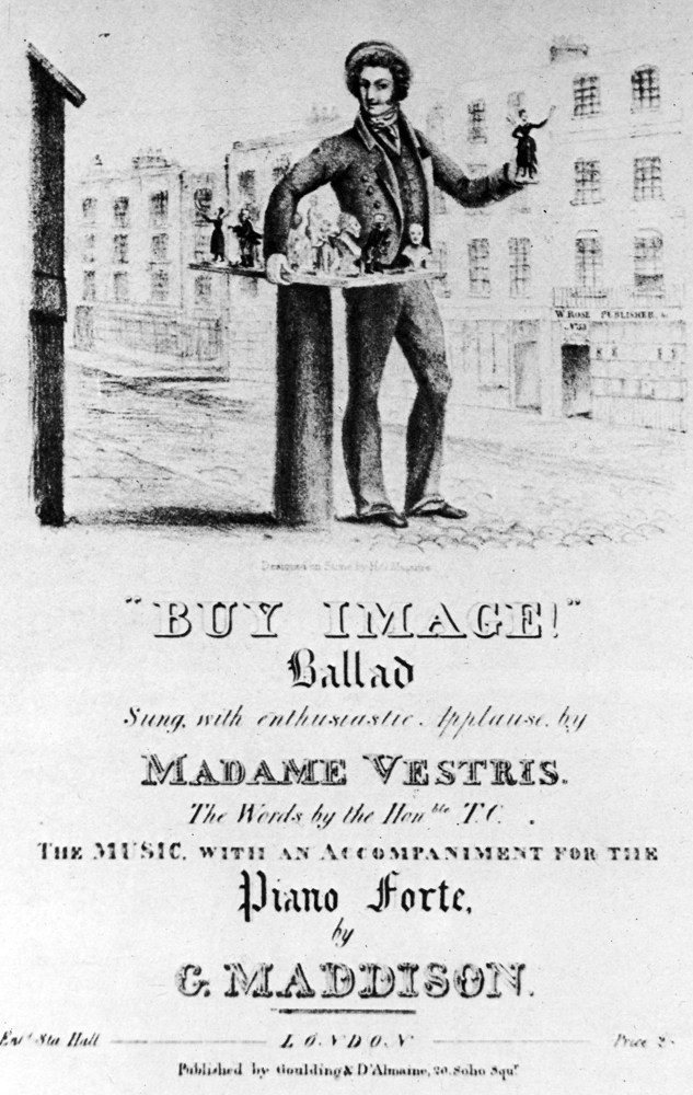 Cover of sheet music published in London, showing reversed image of image-seller