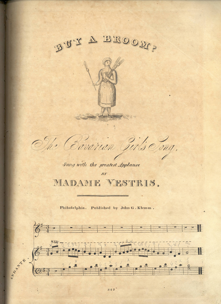 Sheet music of ballad, showing girl holding brooms and musuic staves