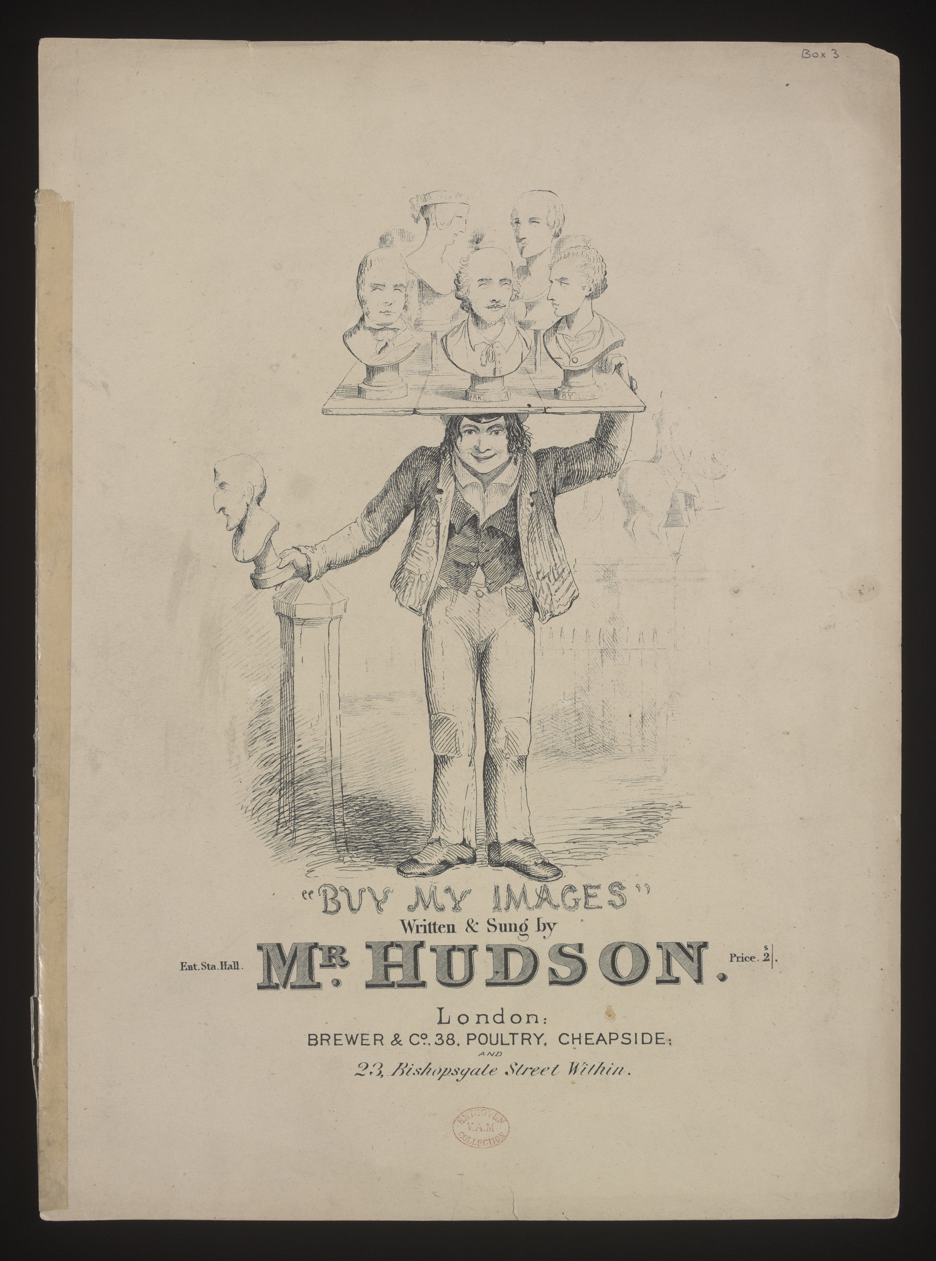 Cover of sheet music of song Buy My Images, showing an image-seller